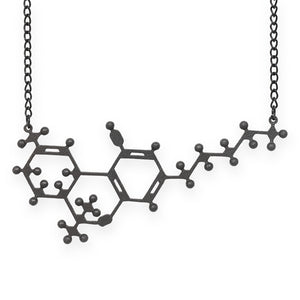 THC molecule necklace - matte black steel