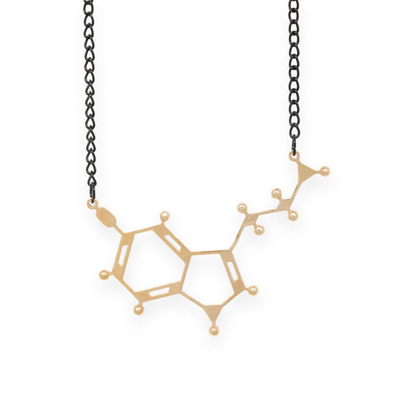 serotonin molecule necklace - polished brass