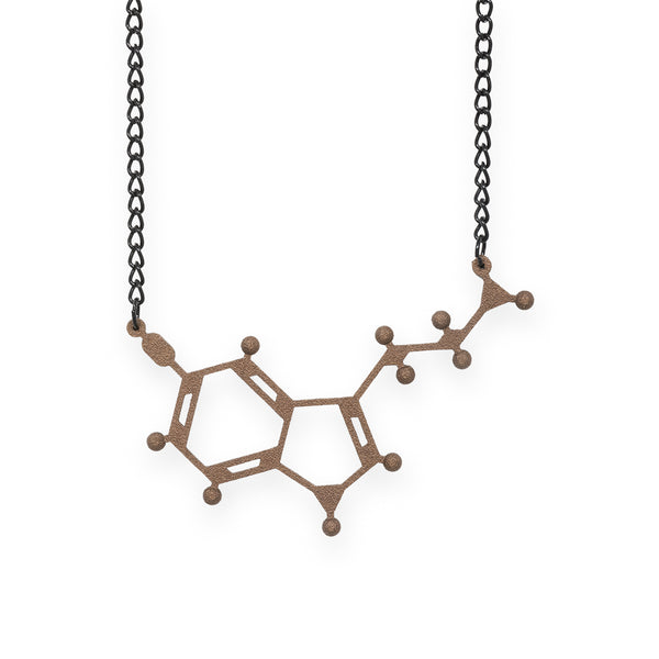 serotonin molecule necklace - bronze steel