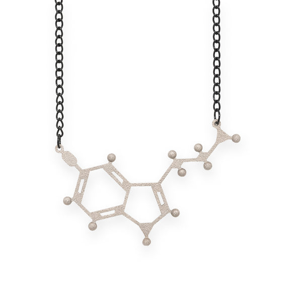 serotonin molecule necklace - nickel steel