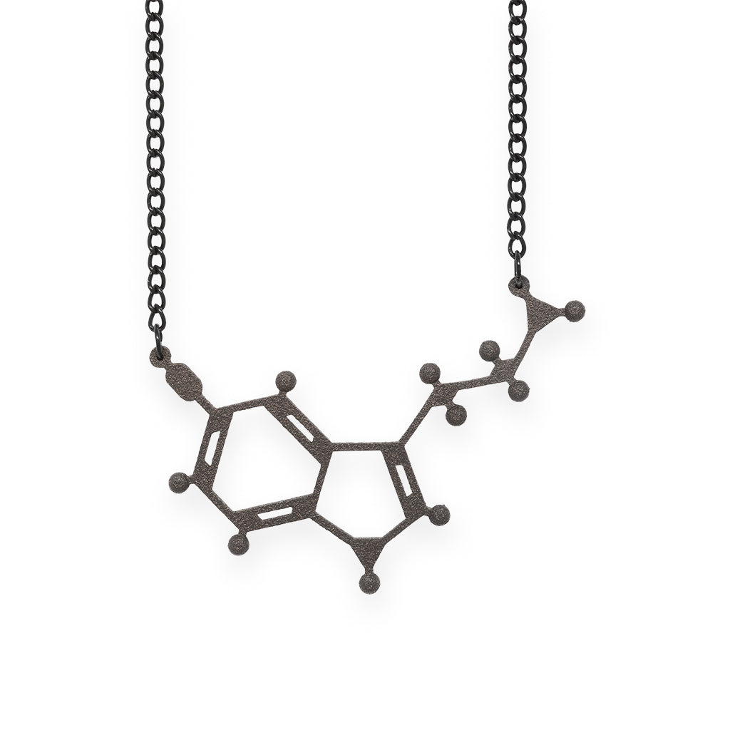 serotonin molecule necklace - matte black steel
