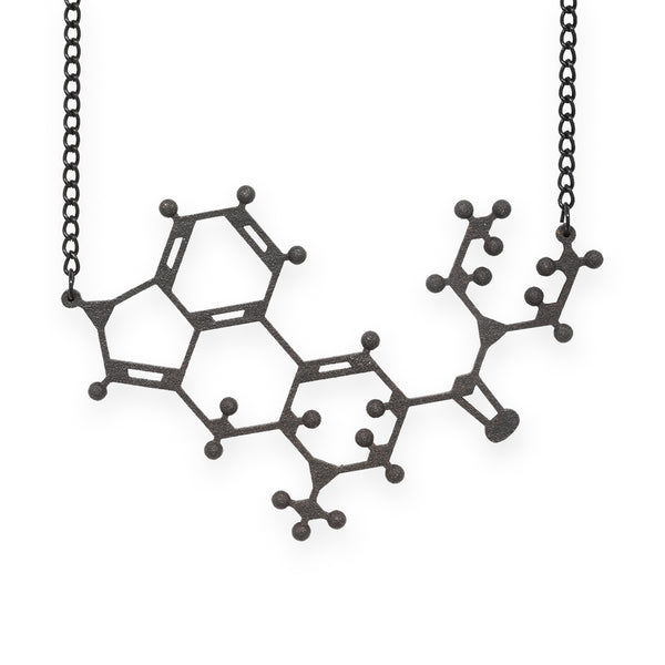 LSD molecule necklace - matte black steel