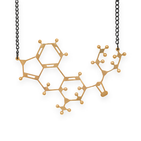 LSD molecule necklace - polished brass