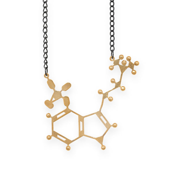 psilocybin molecule necklace - polished brass