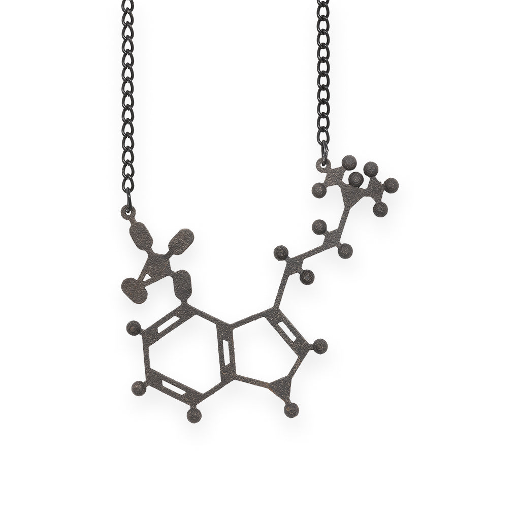 psilocybin molecule necklace - matte black steel