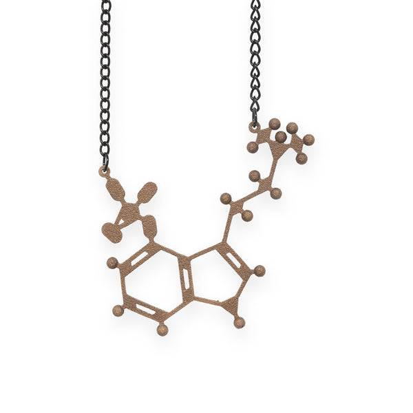 psilocybin molecule necklace - bronze steel