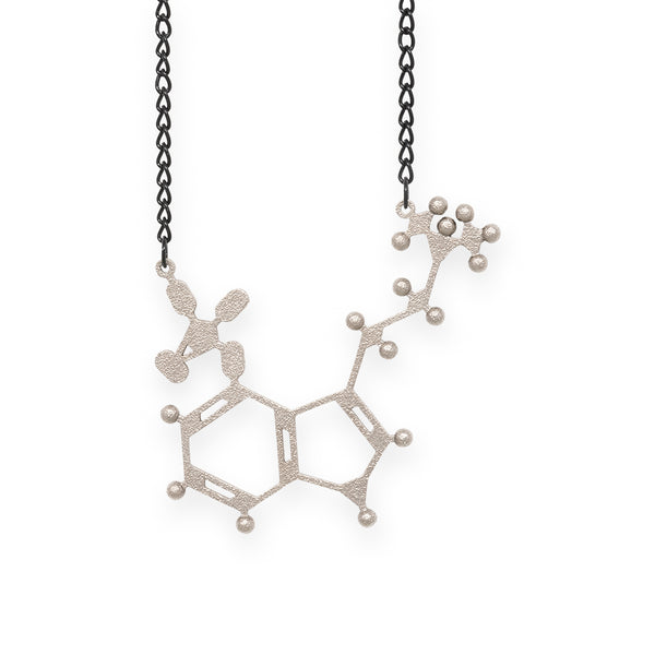 psilocybin molecule necklace - nickel steel