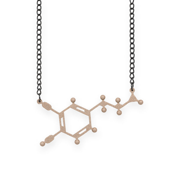 dopamine molecule necklace - bronze steel