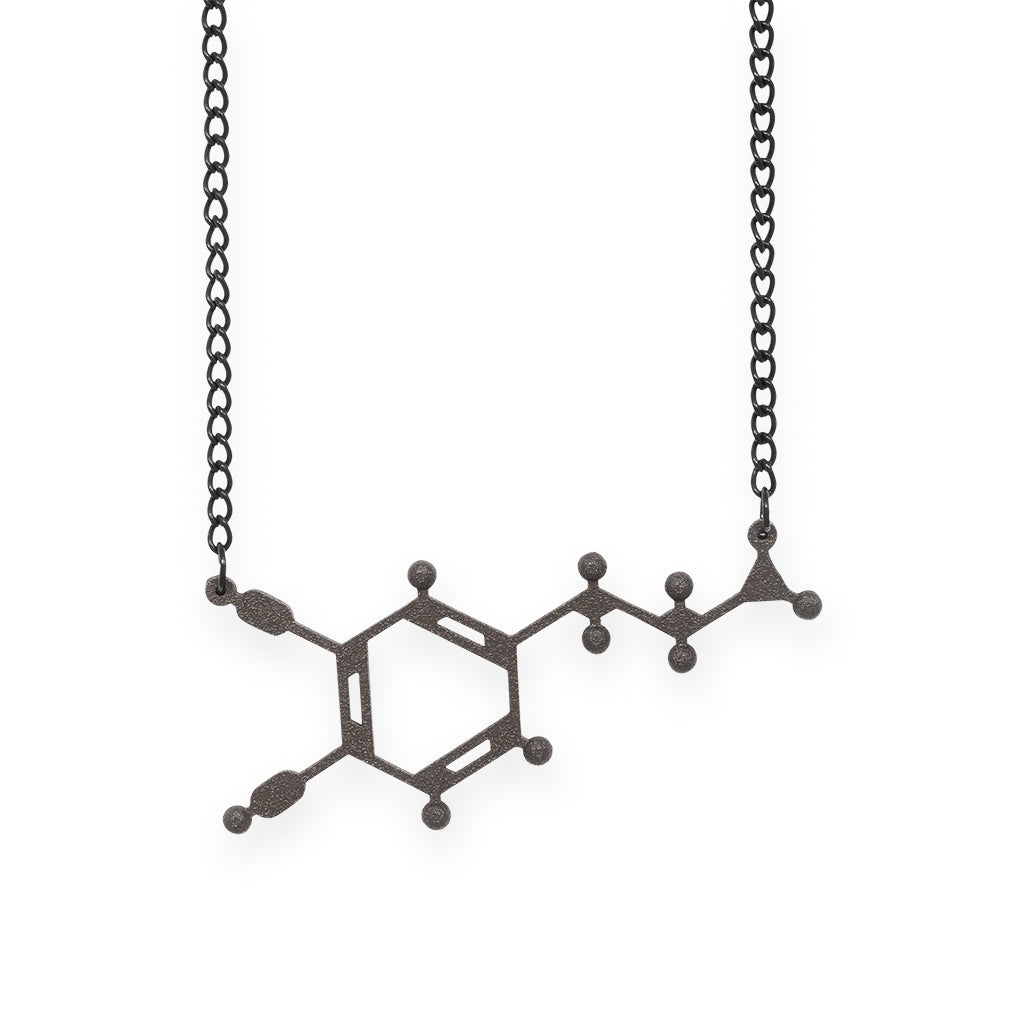 dopamine molecule necklace - matte black steel