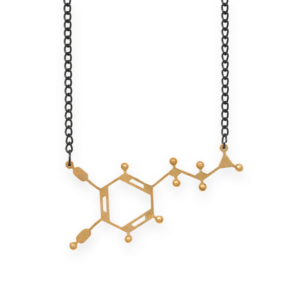 dopamine molecule necklace - polished brass