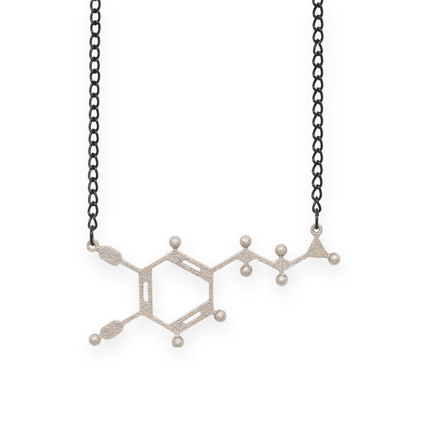 dopamine molecule necklace - nickel steel