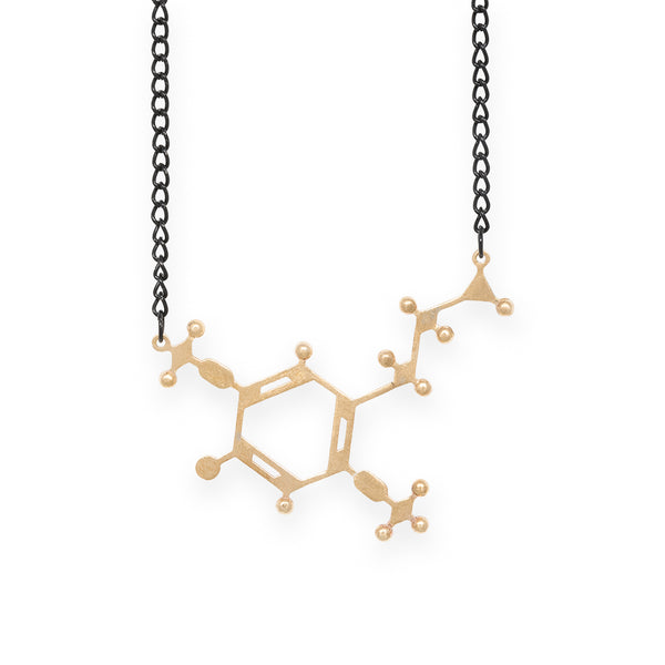 2C-B molecule necklace - polished brass
