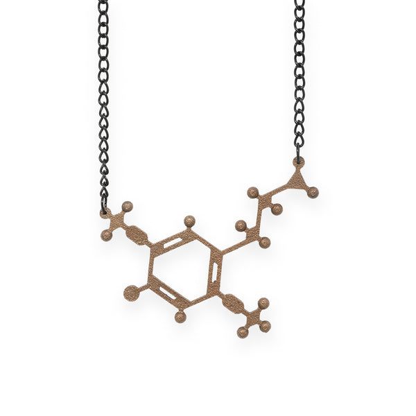 2C-B molecule necklace - bronze steel