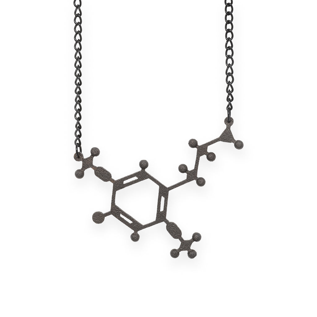 2C-B molecule necklace - matte black steel