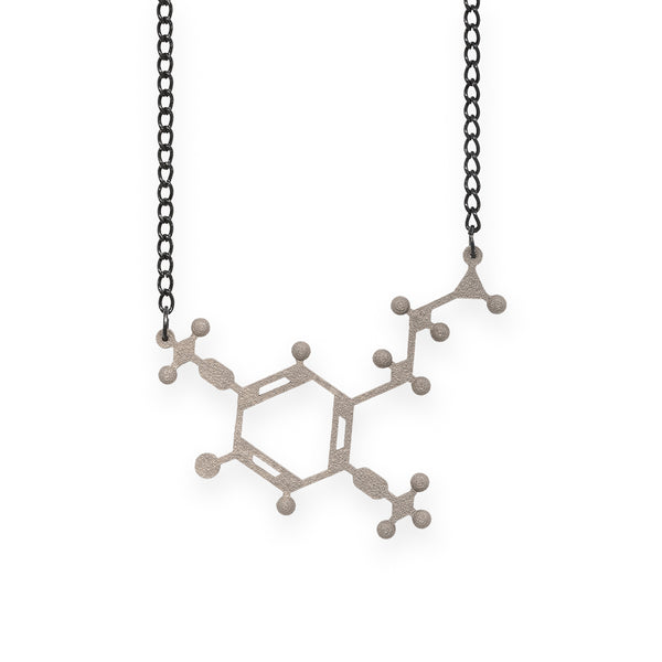 2C-B molecule necklace - nickel steel