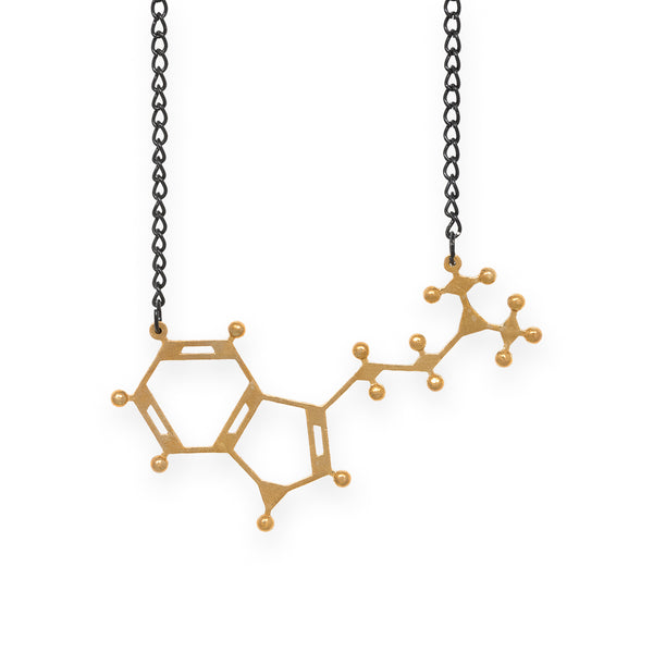 DMT molecule necklace - polished brass