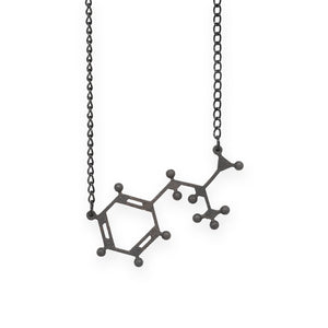 amphetamine molecule necklace - matte black steel