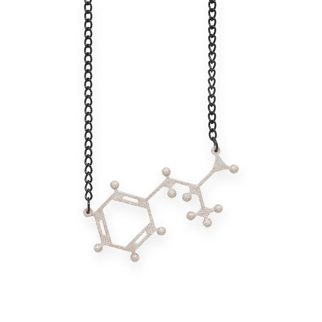 amphetamine molecule necklace - nickel steel
