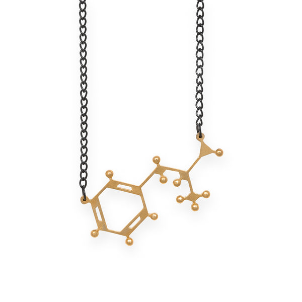 amphetamine molecule necklace - polished brass