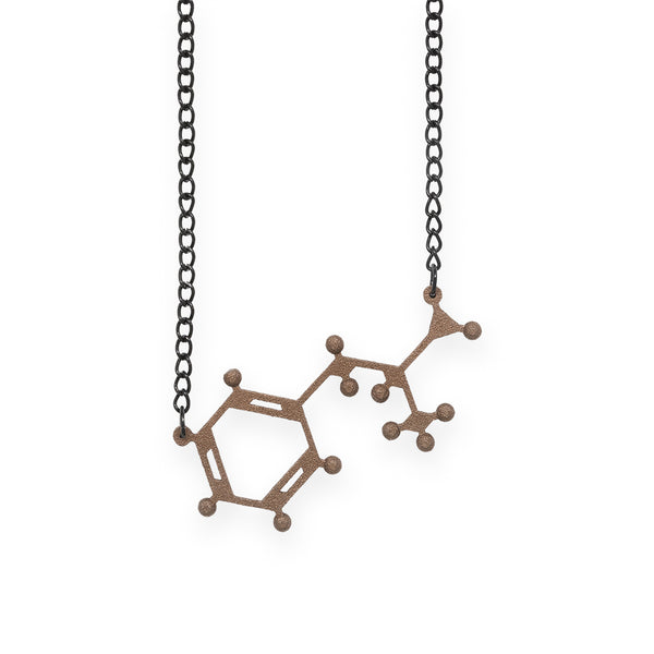 amphetamine molecule necklace - bronze steel