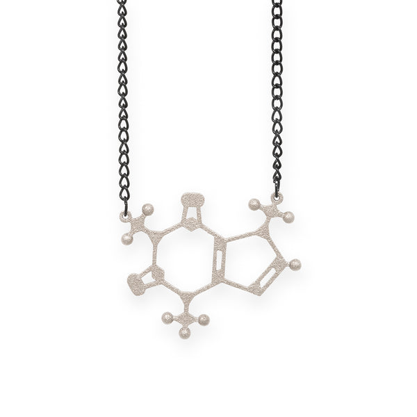 caffeine molecule necklace - nickel steel