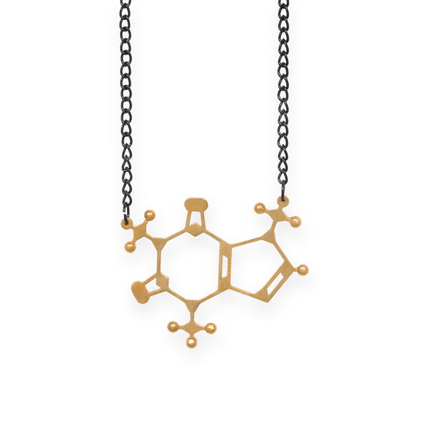 caffeine molecule necklace - polished brass