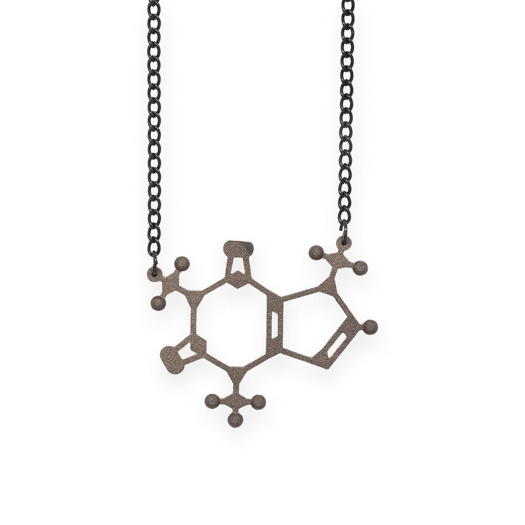 caffeine molecule necklace - matte black steel