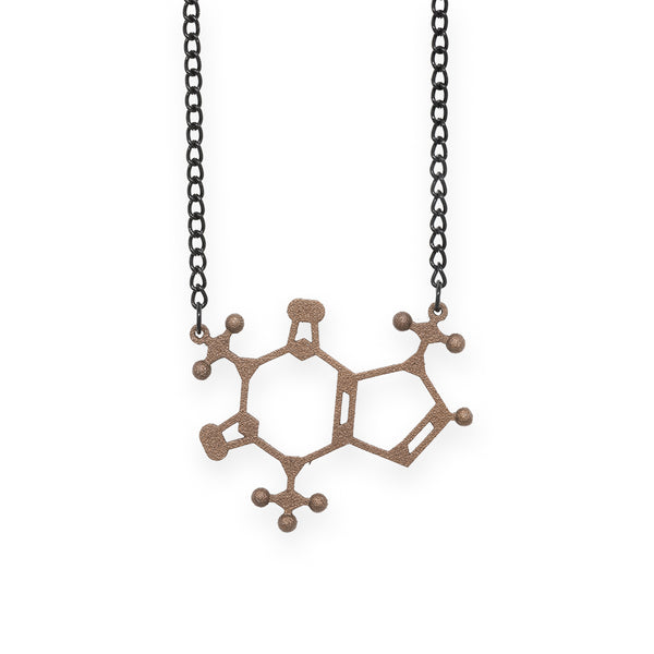 caffeine molecule necklace - bronze steel