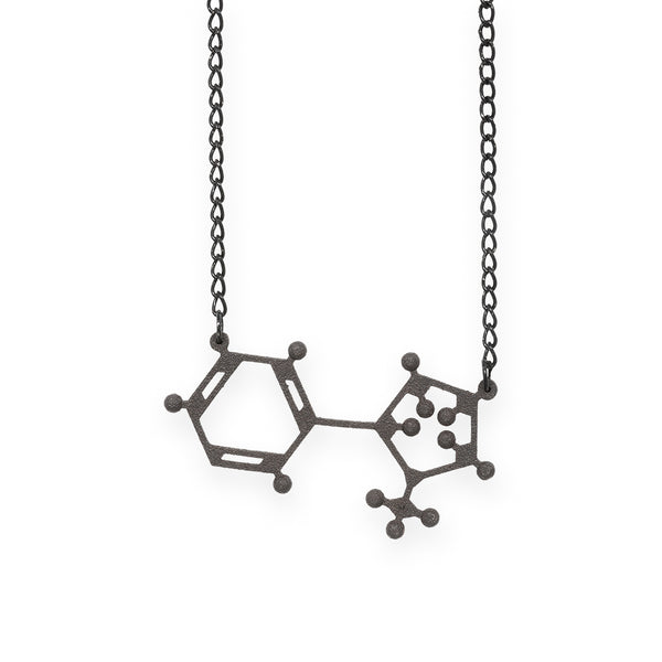 nicotine molecule necklace - matte black steel