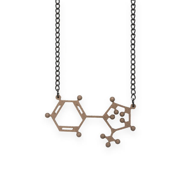 nicotine molecule necklace - bronze steel