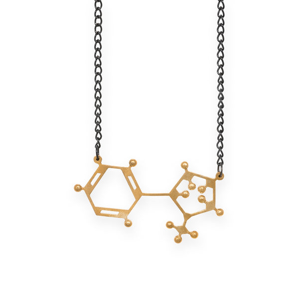 nicotine molecule necklace - polished brass