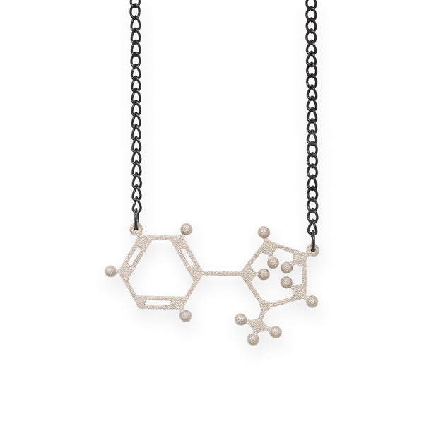 nicotine molecule necklace - nickel steel