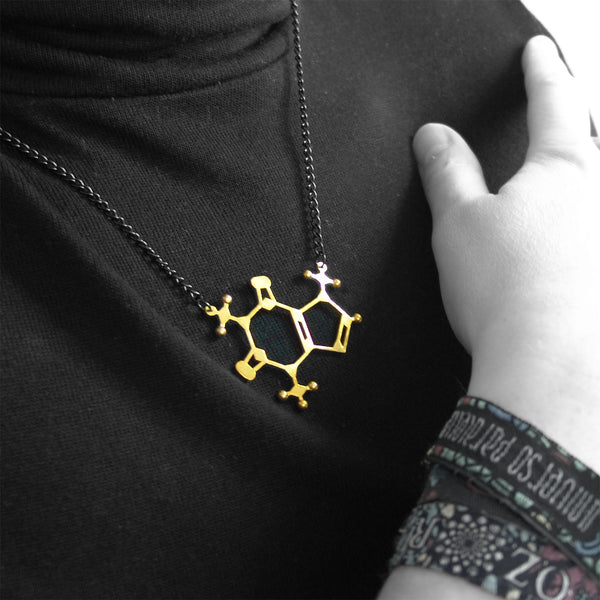 caffeine molecule necklace size