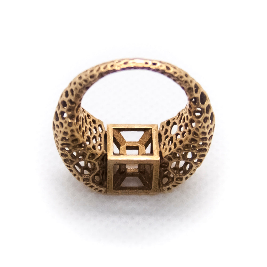 tesseract ring - natural bronze