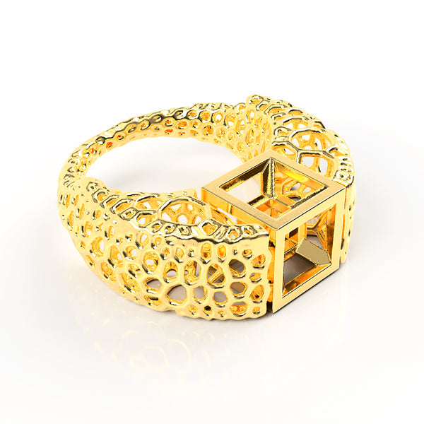 tesseract ring - 18k gold
