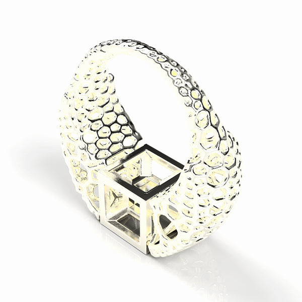 tesseract ring - polished silver