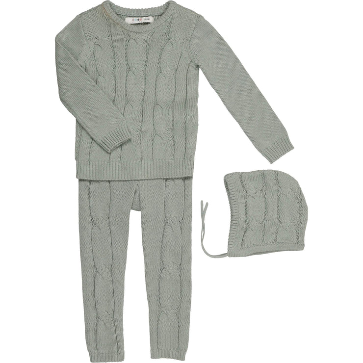 Cabled Three Piece Set - CocoBlanc