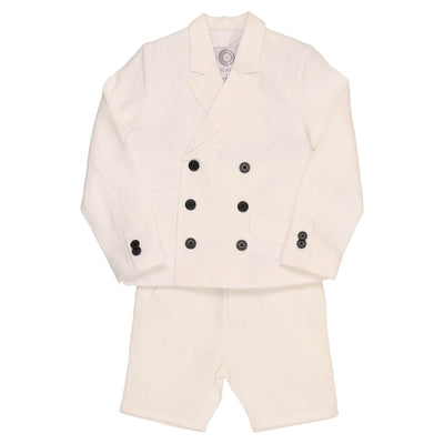 Double Breasted Linen Suit - CocoBlanc