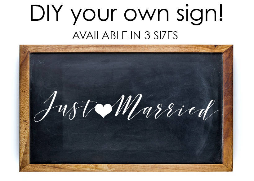 Just Married Getaway Car Sign Decal, Send off car sign, Car Decal, Just Married, wedding heart decal, Car Decorations, diy wedding decal