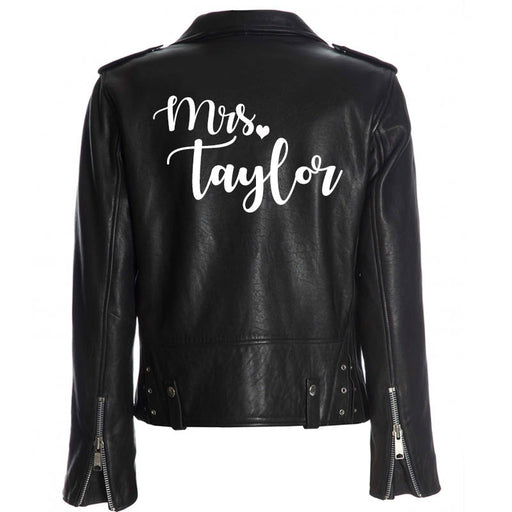 Custom Mrs. Leather Jacket Iron on Heat Transfer Mrs. Jacket Mrs. denim jacket Personalized Decal Bride leather jacket bride jacket -HT8HTV