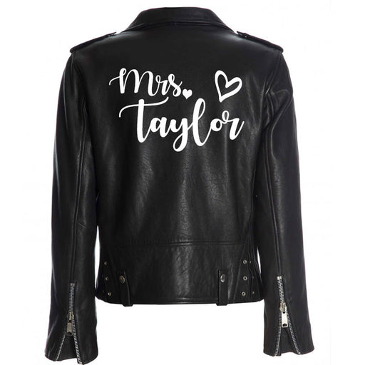 Custom Mrs. Leather Jacket Iron on Heat Transfer Mrs. Jacket Mrs. denim jacket Personalized Decal Bride leather jacket, bride jacket -HT4HTV