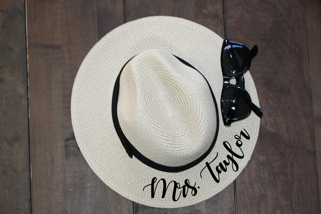 Mrs., Panama Hat, Fedora, Custom, Sun Hat flat brim Newly Engaged Gift Mrs Beach Hat Honeymoon Hat Personalized Bride Gift straw- FED25HTV