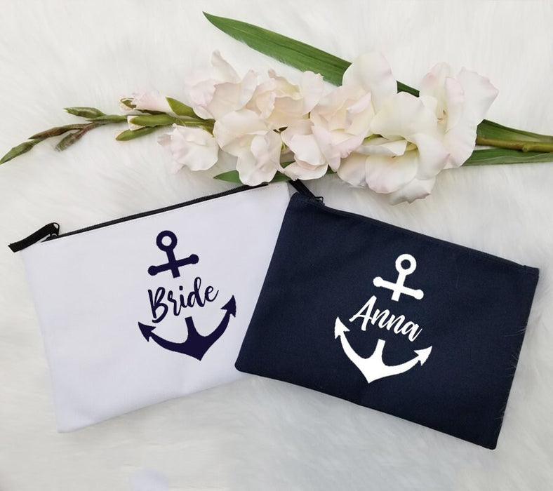 Set of, 4, 5, 6, 7 Personalized, bag makeup Bridesmaid gifts Bridal shower, anchor, nautical, navy, white, cosmetic, bridal party -PMB25CHTV
