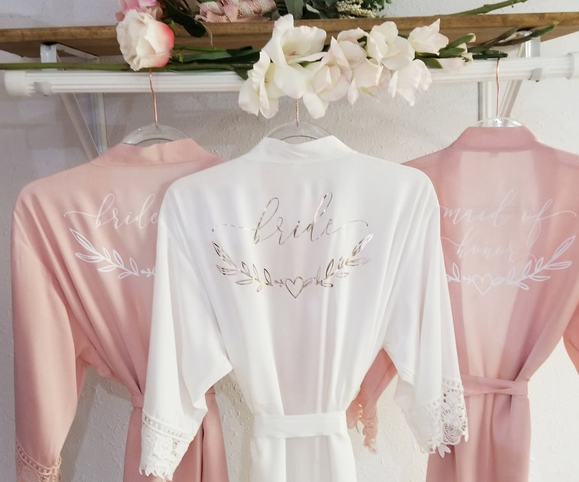 One Size, Personalized, Bridesmaid, maid of honor, robe, With Lace, Cotton, Rayon, Blush, Rose, Gold, Glitter, gift, bridal, shower, party