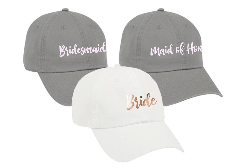 Bachelorette Party hats, garment washed, unstructured, cotton, Dad Hat, Bridesmaid Hats, Bridal party favors, personalized, custom - Dh33HTV