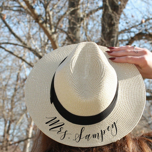 Mrs., Panama Hat, Fedora, Custom, Sun Hat, flat brim, Newly Engaged Gift, Mrs. Beach Hat, Honeymoon Hat, Personalized Bride Gift, straw