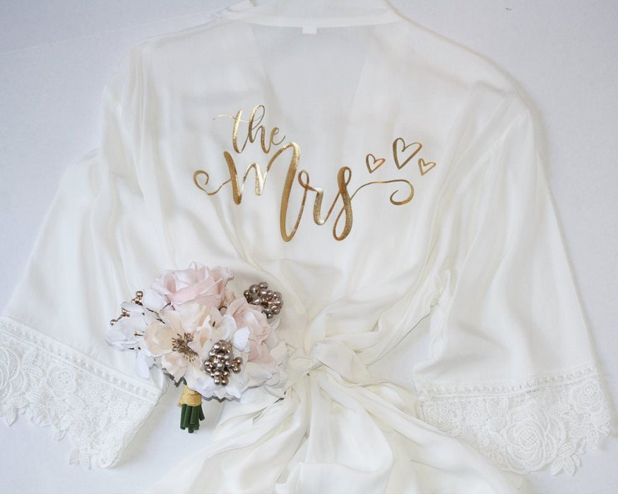 Bridal robe with lace The Mrs Getting ready robe for bride to be Cotton Rayon Rose Gold honeymoon gift for bride bridal shower Gift -RB3HTV