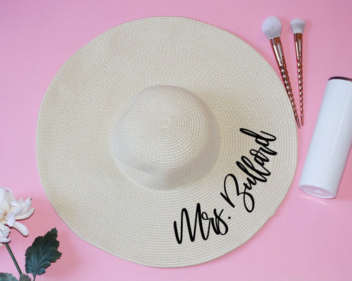 Mrs. Floppy beach hat personalized bridal shower gift custom straw sun hat honeymoon beach hat bride newly engaged present gold - FH22HTV