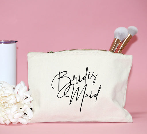 script bridesmaid makeup bag canvas personalized cosmetic bag for bride gift for bridal party mother of the bride groom maid of honor bag