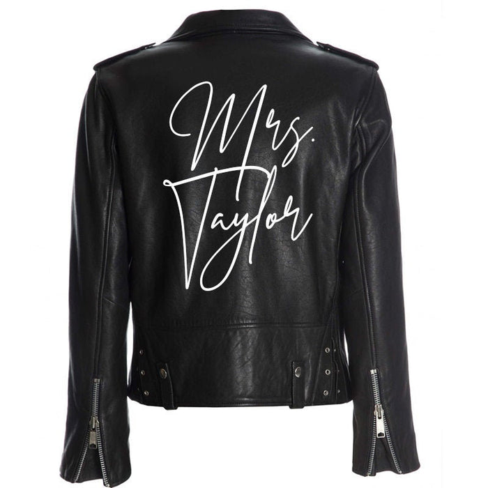 Custom Mrs. Leather Jacket Iron on Heat Transfer Mrs. Jacket Mrs. denim jacket Personalized Decal Bride leather jacket bride jacket -HT26HTV